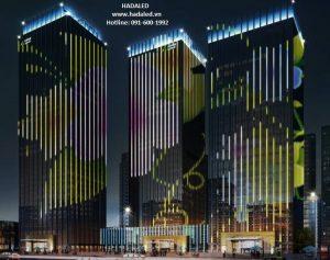 Đèn led viền trang trí mặt tiền tòa nhà
